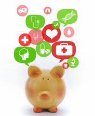 Piggy bank with medical icons in talk bubbles isolated