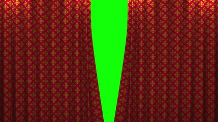 red and gold pattern curtain with green screen opening scene