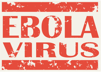 Illustration of red stamp with words Ebola Virus