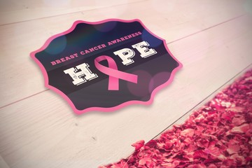 Composite image of breast cancer awareness badge