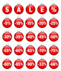 "Red Christmas Balls ""SALE"" Minus Percentsign"