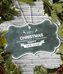 Composite image of holly and christmas branches forming frame