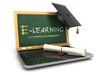 canvas print picture - E-laerning education concept. Laptop with chalkboard, mortar boa