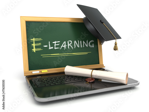 canvas print picture E-laerning education concept. Laptop with chalkboard, mortar boa