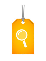 label icon with a magnifier