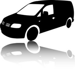 Silhouette of black Van car vector