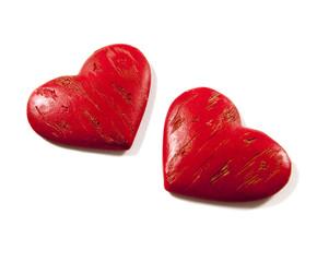 deux coeurs rouge