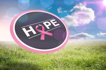 Composite image of breast cancer awareness message on poster