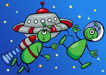 aliens in space cartoon illustration