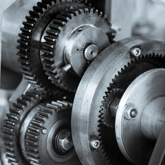 Gears and cogs of old machine