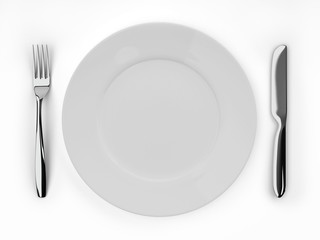 Empty dinner plate, knife and fork