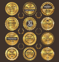 Golden retro badges collection