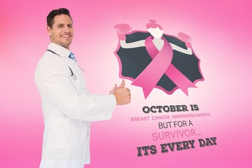 Doctor with breast cancer awareness message