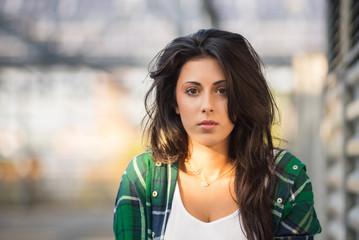 Beautiful young woman portrait outdoors.