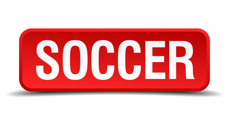 Soccer red 3d square button isolated on white