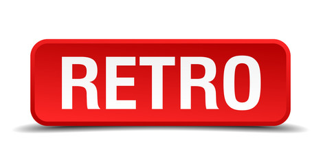 Retro red 3d square button isolated on white