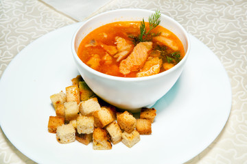 soup and bread croutons, entree