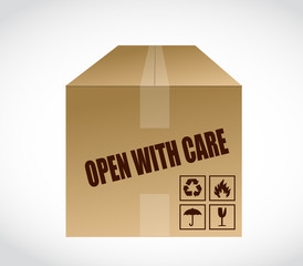 open with care box illustration design