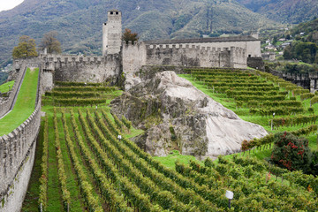 The Fort of Castelgrande at Bellinzona on the Swiss alps