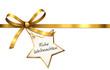 Goldene Schleife mit Stern-Etikett - Frohe Weihnachten