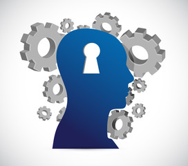 keyhole head and gears, illustration