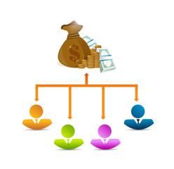 teamwork money diagram illustration