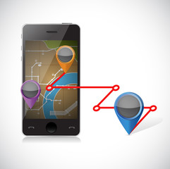 phone gps and locations illustration