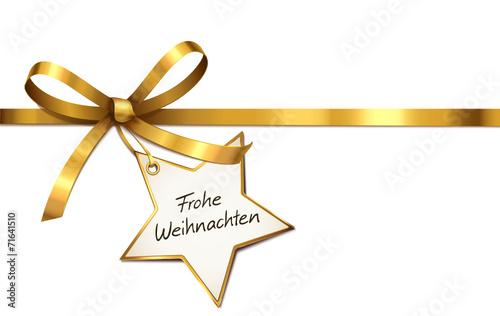 Goldene Schleife mit Stern-Etikett - Frohe Weihnachten - 71641510