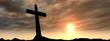 Black cross on mountain at sunset banner