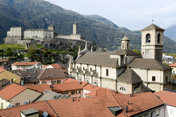 The Collegiate Church and fort Castelgrande at Bellinzona on the