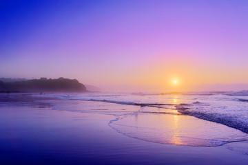 beach of Sopelana at sunset