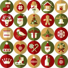 Christmas design icons set. Seamless pattern of christmas.