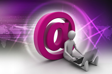 man with laptop sitting on the email icon