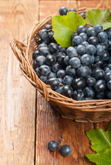 Black grapes in a basket on the table