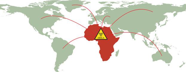 Earth with words Ebola Virus