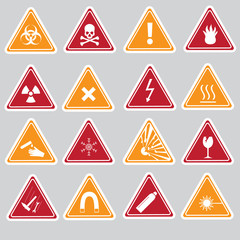 16 color danger signs types stickers eps10