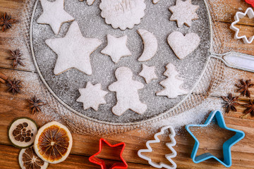 Christmas cookies decorated with powder sugar