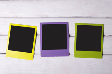 Three color polaroid frames
