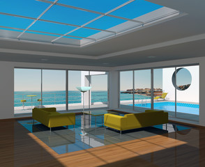 Interior room with swimming pool and seascape view