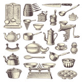 Fototapety collection of vintage kitchen design elements