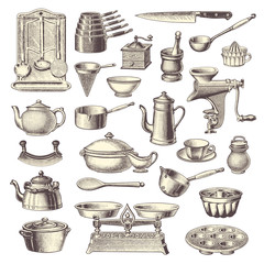 collection of vintage kitchen design elements