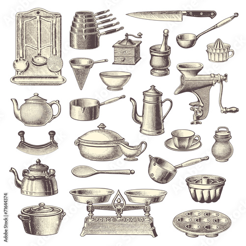 collection of vintage kitchen design elements - 71644374
