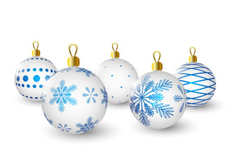 Christmas balls with blue pattern