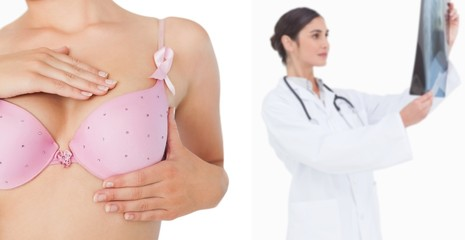 Closeup of woman performing self breast examination