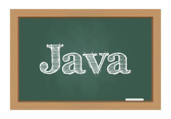 Java text drawn on chalkboard