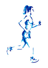 Abstract illustration of a female figure jogging