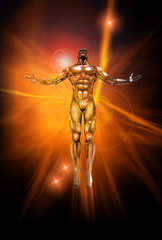 Chrome man figure on abstract energy background