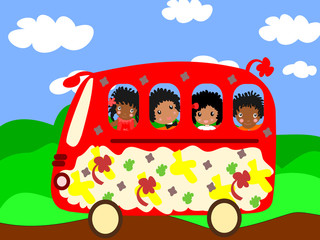 Happy African children go to school bus