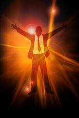 A businessman with open arms against abstract energy background