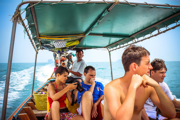 Big Family on boat. Snorkeling travel.